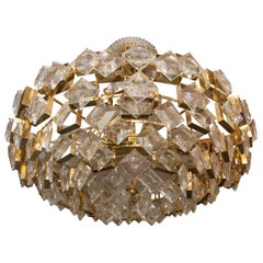Brass Chandelier Composed of Multiple Geometric Crystal Elements