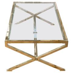 """Brass and Glass """"X"""" Base Coffee Table"""