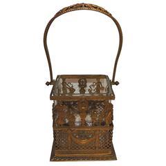 Wonderful French Gilt Bronze Swag Empire Neoclassical Centerpiece Glass Basket