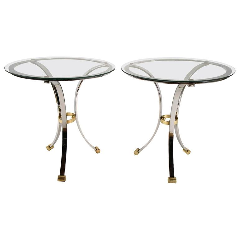 Pair of Maison Jensen Round Chrome and Brass End Tables