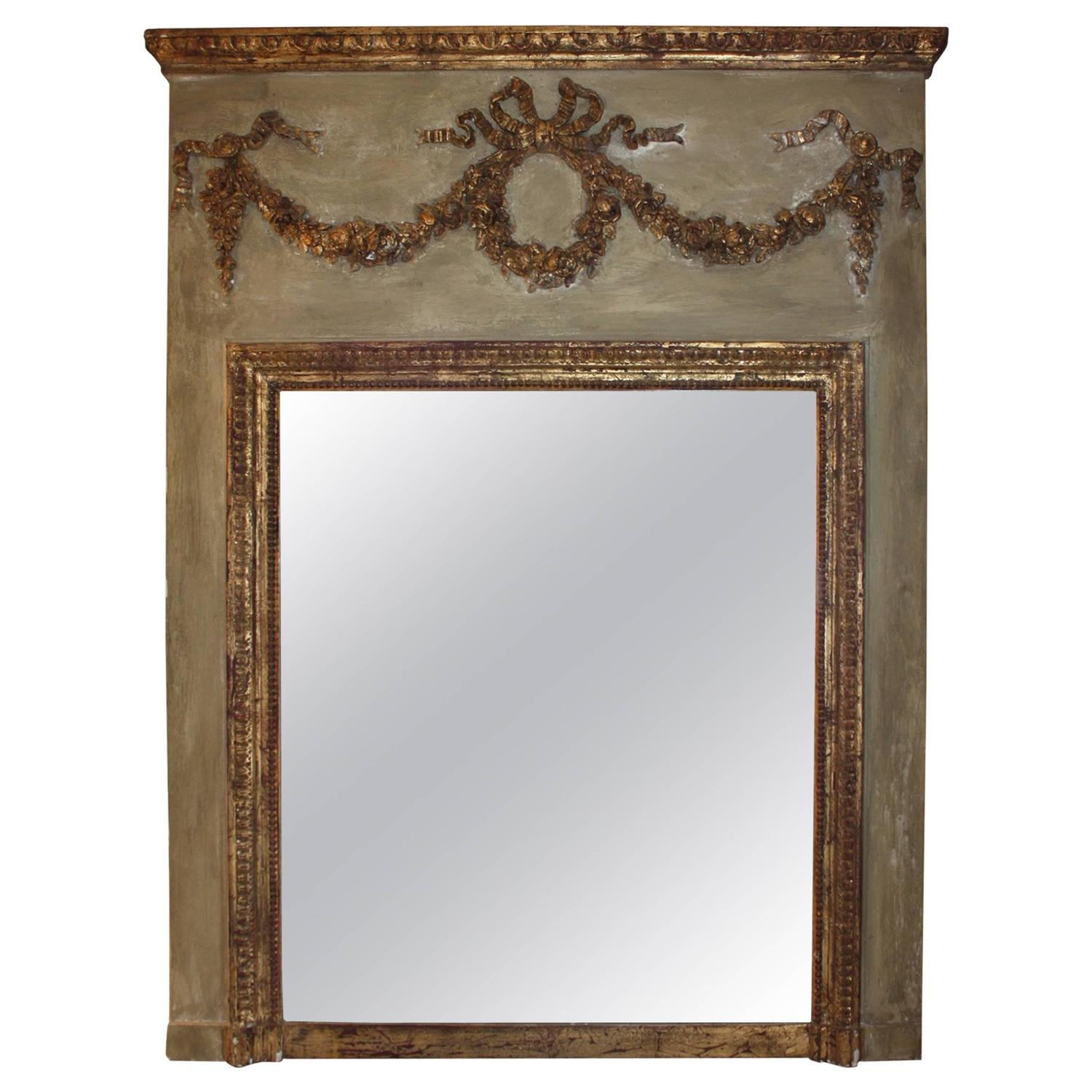 painted french trumeau mirror at 1stdibs. Black Bedroom Furniture Sets. Home Design Ideas