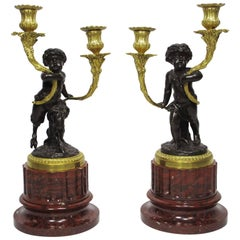 19th Century Louis XVI Style Patinated and Gilt Bronze Figural Candelabra, Pair