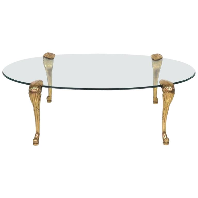60 Mid Century Modern Vintage Half Moon Coffee Table: Brass And Glass Coffee Table, Manner Of P.E. Guerin For