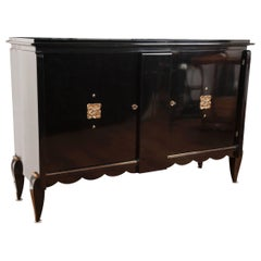 Mid Century French Ebonized Sideboard, Leleu- style