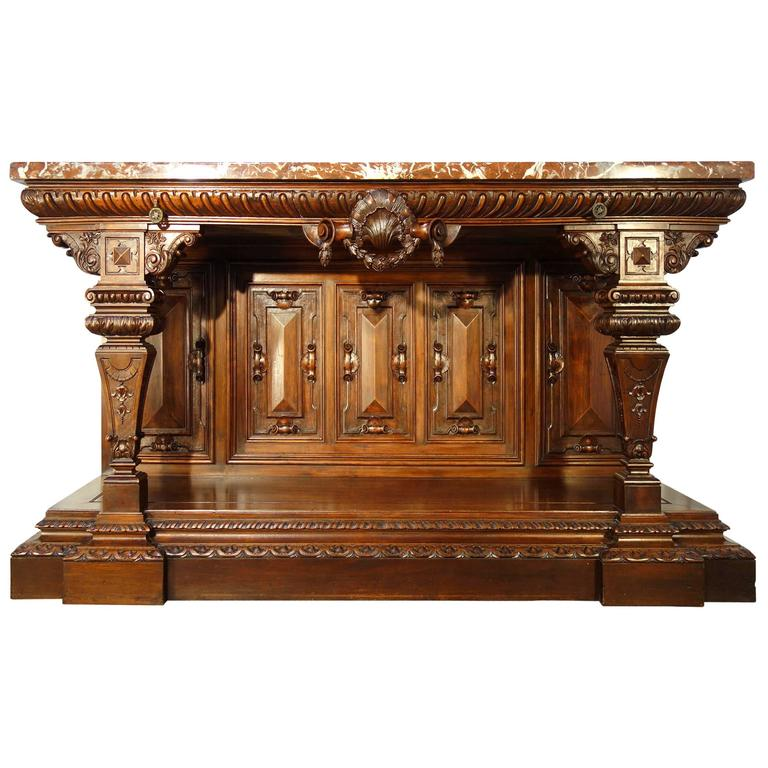 19th Century Monumental Walnut Tuscan Renaissance Style Entry Table Ca 1850  For Sale