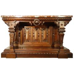 19th Century Large Walnut Tuscan Renaissance Style Entry Console Table Ca 1850