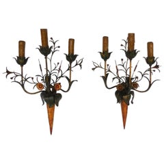 Daintly, Floral Painted Mid-20th Century Sconces