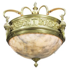 Rare Art-Deco Style Polished Bronze and Alabaster Three-Light Plafonnier