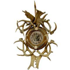 Antique Cabin Decor Antler Wall Clock