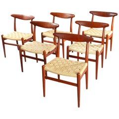 Six Charming Teak Dining Chairs Mod. W2 Designed Hans Wegner, Denmark, 1950