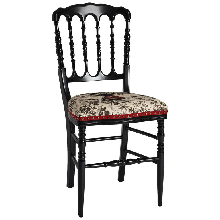 Unique Chair By Gucci Hand Embroidered Bee On Black
