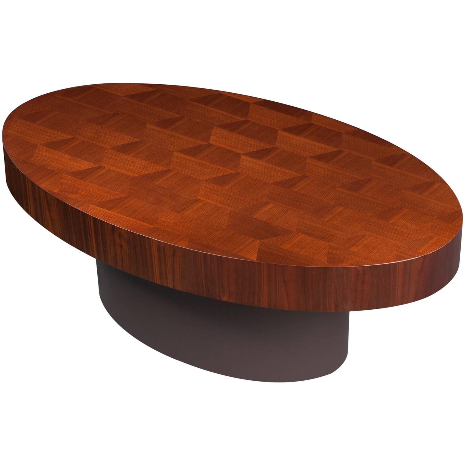 Contemporary oval chequerboard walnut wood coffee table for Contemporary oval coffee tables