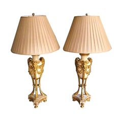 Pair of French Marble and Ormolu Bronze Lamps.  Circa 1810