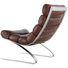 COR Sinus Easychair Lounge Chair, 1976 by Reinhold Adolf in Chocolate Leather
