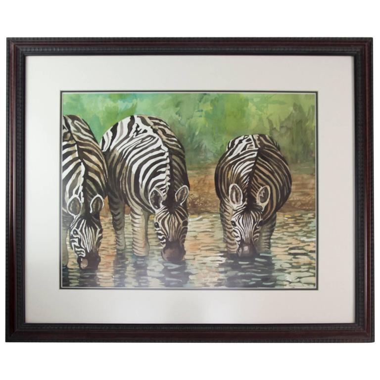Zebras Drinking at a Waterhole Watercolor Painting, Howard, 1997