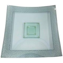 Modernist Large Square Art Glass Centerpiece Dish and Base