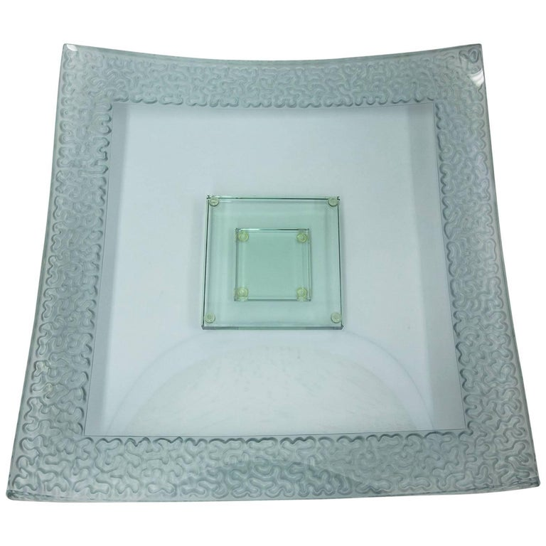 Modernist Large Square Art Glass Centerpiece Dish and Base For Sale