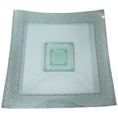 Modernist Dynamic Large Square Art Glass Vintage Centerpiece Dish