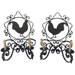 Pair of Vintage French Iron Rooster Sconces