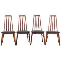 Mid-Century Modern Danish Set of 4 Chairs in Rosewood Model Eva by Niels Ko