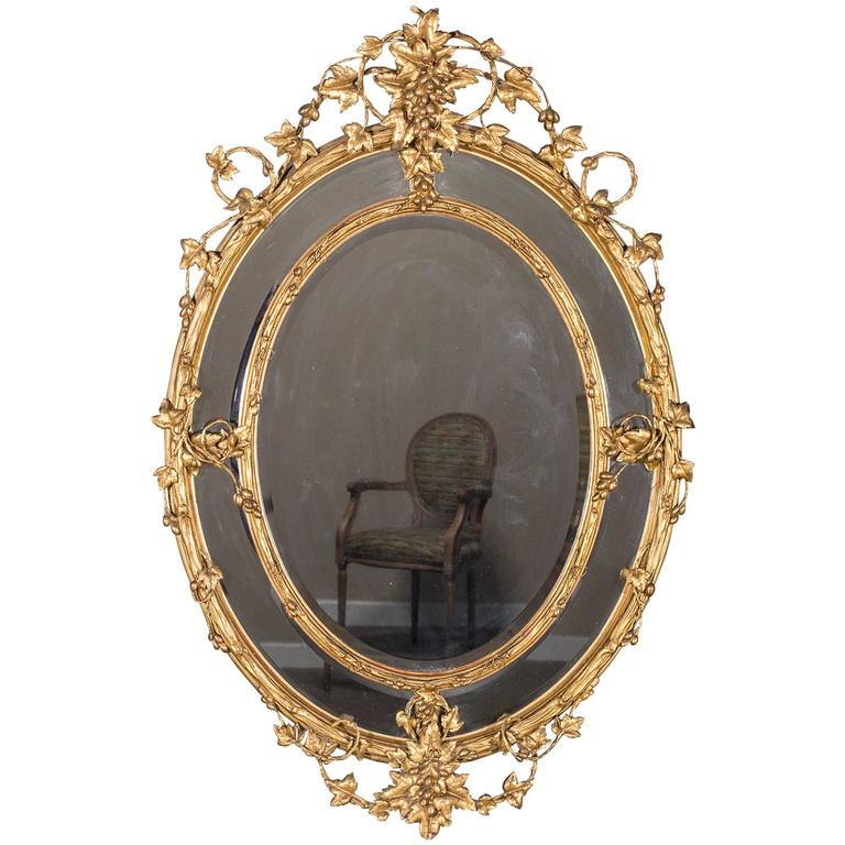 Huge Antique French Wine Estate Oval Mirror, circa 1875 For Sale