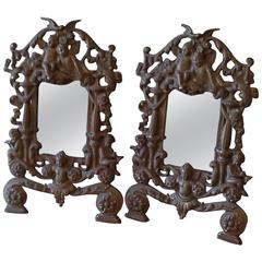 Pair of Victorian Cast Iron and Gilt Angel Wall Mirrors, circa 1880s
