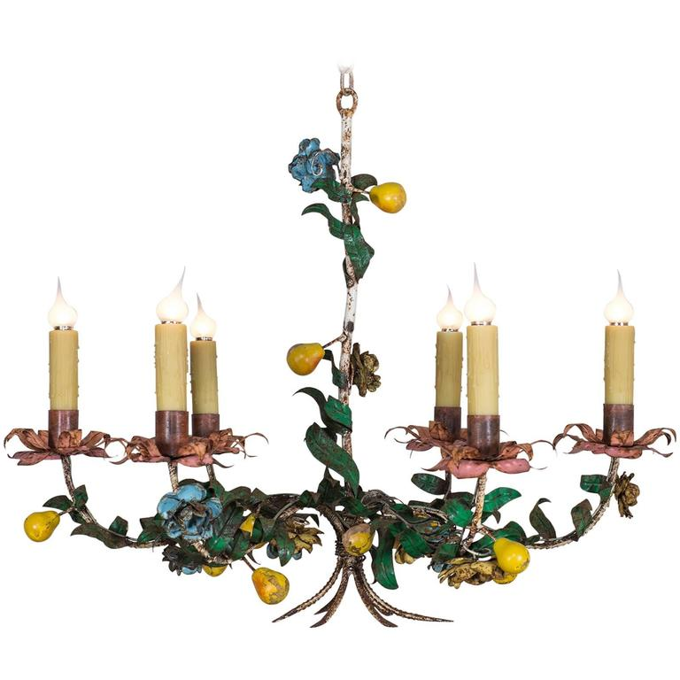 Whimsical Vintage Italian Tole Chandelier, circa 1920 For Sale - Whimsical Vintage Italian Tole Chandelier, Circa 1920 At 1stdibs
