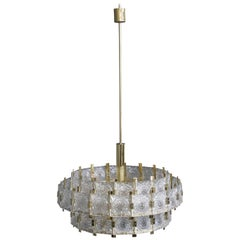 French Mid-Century Modern Brass Chandelier with Glass