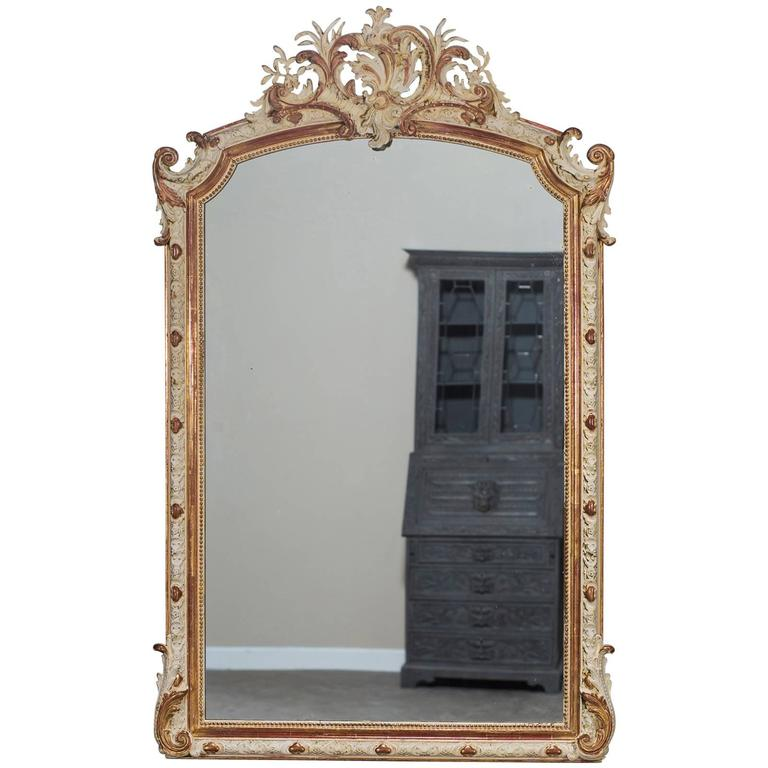 Antique French Louis Philippe Gilded and Painted Mirror, circa 1880