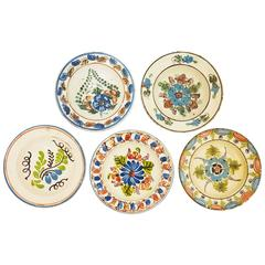 Antique Set of Five Hungarian Hand-Painted Ceramic Bowls with Floral Motifs