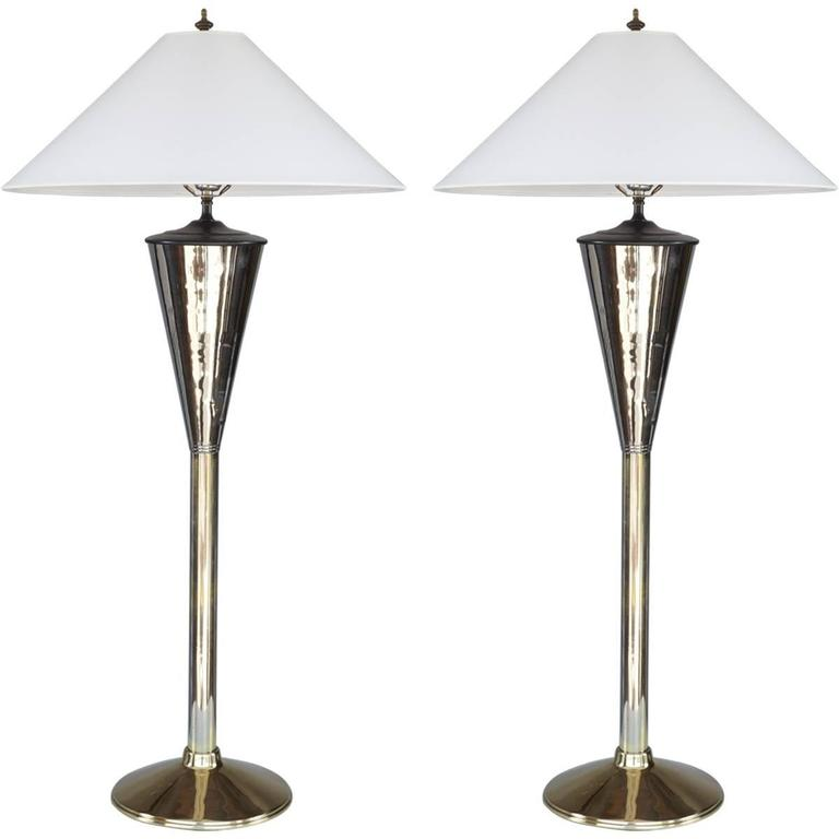 Pair of Brass and Nickel Tall Lamps For Sale
