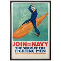 Join the Navy, the Service for Fighting Men WW I Recruitement Poster, circa 1917