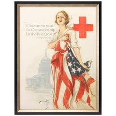 Red Cross WWI Patriotic Poster, Woodrow Wilson Quote by Harrison Fisher, 1918
