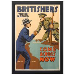 "World War I Recruitment Poster, ""Come Across Now"" by Lloyd Myers, circa 1917"