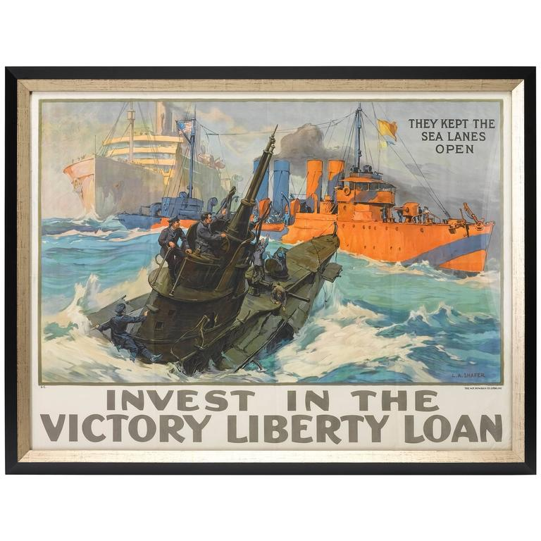 """They Kept the Sea Lanes Open"" Liberty Loan Poster, circa 1918 For Sale"
