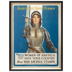 Joan of Arc Saved France WWI War Savings Stamps Poster, circa 1918
