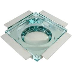 Italian Fontana Arte Glass and Stainless Steel Vide Poche Signed