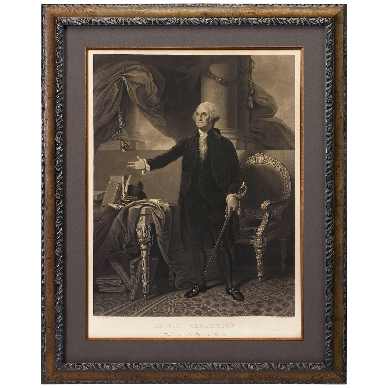 George Washington by Henry Sadd, Antique Engraving, circa 1844