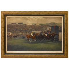 """""""The King's Derby of 1909"""" After G.D. Giles, Hand-Colored Print, circa 1909"""