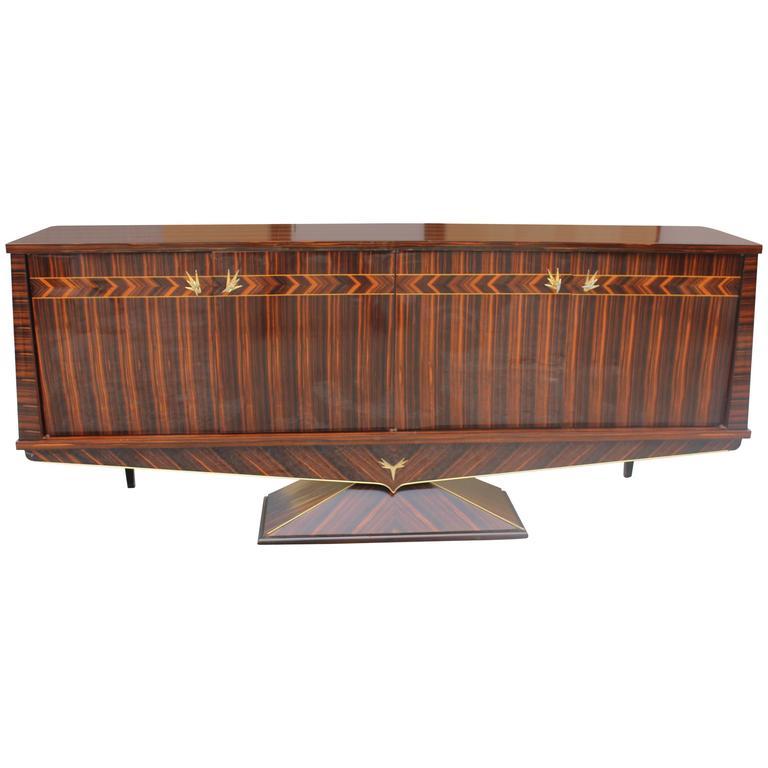 Opulent Designer French Art Deco Exotic Macassar Ebony Sideboard, circa 1940s For Sale