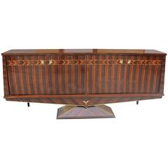 Opulent Designer French Art Deco Exotic Macassar Ebony Sideboard, circa 1940s