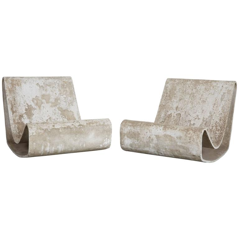 pair of willy guhl concrete loop chairs browse cement furniture