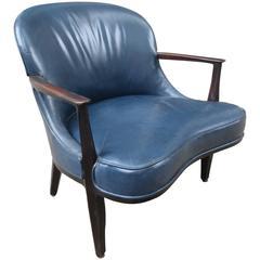Dunbar Edward Wormley Janus Collection Blue Leather Chair