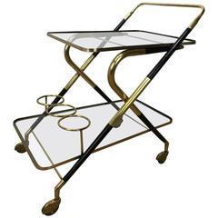 Italian Brass and Ebonized Wood Bar Cart