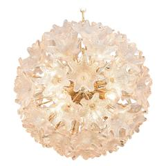 Italian Sputnik Chandelier with Murano Glass Flowers