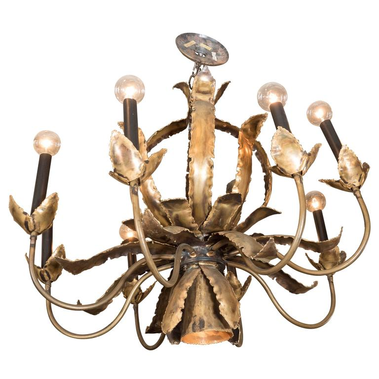 Mid-Century Brutalist Style Brass Chandelier in Pineapple Form