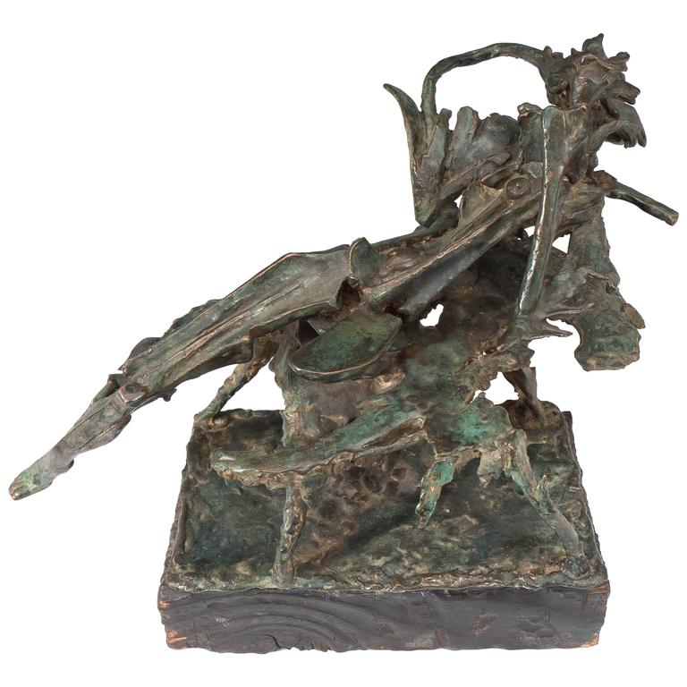 Bronze Sculpture Titled 'Reading' by George Koras