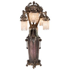 Austrian Art Nouveau Amphora 'EDDA' Vase Lamp with Bronze Mounts