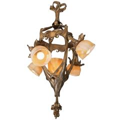 French Art Nouveau Gilt Bronze Chandelier with Art Glass Shades