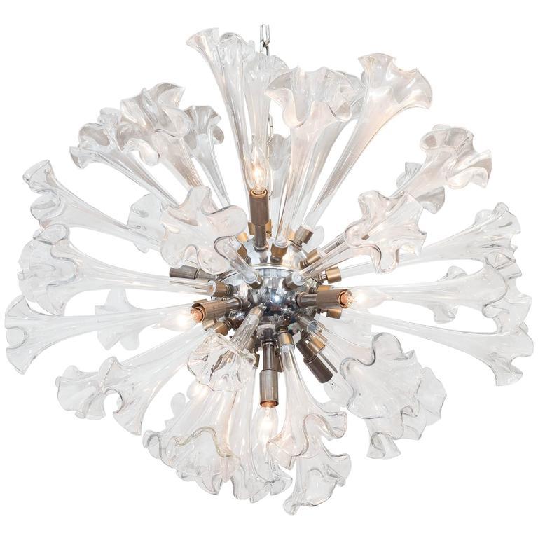Impressive Sputnik Chandelier with Murano Glass Lilies